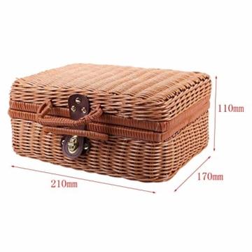 Gaoominy Reise Picknick Korb Hand Gemachte Wicker Aufbewahrungs Koffer Vintage Koffer Requisiten Box Weben Bambus Boxen Au?en Rattan Organizer - 4
