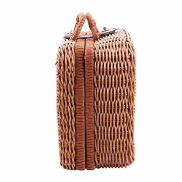 Gaoominy Reise Picknick Korb Hand Gemachte Wicker Aufbewahrungs Koffer Vintage Koffer Requisiten Box Weben Bambus Boxen Au?en Rattan Organizer - 5
