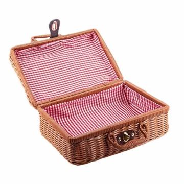 Gaoominy Reise Picknick Korb Hand Gemachte Wicker Aufbewahrungs Koffer Vintage Koffer Requisiten Box Weben Bambus Boxen Au?en Rattan Organizer - 6