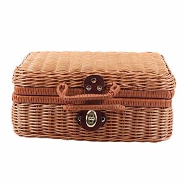 Gaoominy Reise Picknick Korb Hand Gemachte Wicker Aufbewahrungs Koffer Vintage Koffer Requisiten Box Weben Bambus Boxen Au?en Rattan Organizer - 7