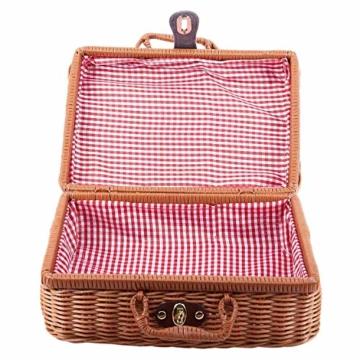 Gaoominy Reise Picknick Korb Hand Gemachte Wicker Aufbewahrungs Koffer Vintage Koffer Requisiten Box Weben Bambus Boxen Au?en Rattan Organizer - 8