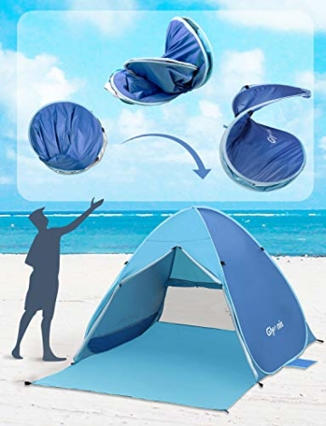 Glymnis Strandmuschel Pop Up Strandzelt mit Reißverschluss und Türvorhang UV-Schutz 50+ Windschutz Strand Zelt für 2-3 Personen Camping Strand Outdoor - 2