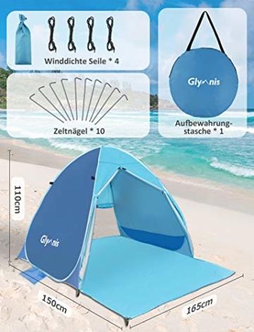 Glymnis Strandmuschel Pop Up Strandzelt mit Reißverschluss und Türvorhang UV-Schutz 50+ Windschutz Strand Zelt für 2-3 Personen Camping Strand Outdoor - 3
