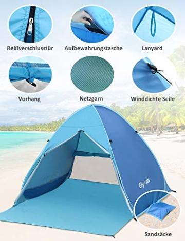 Glymnis Strandmuschel Pop Up Strandzelt mit Reißverschluss und Türvorhang UV-Schutz 50+ Windschutz Strand Zelt für 2-3 Personen Camping Strand Outdoor - 4