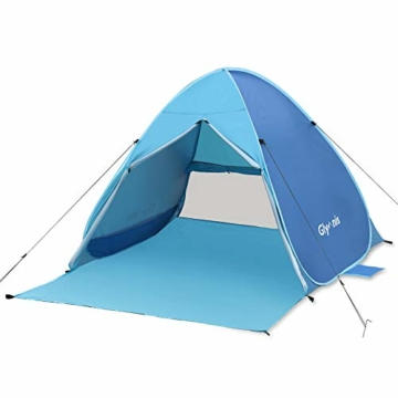 Glymnis Strandmuschel Pop Up Strandzelt mit Reißverschluss und Türvorhang UV-Schutz 50+ Windschutz Strand Zelt für 2-3 Personen Camping Strand Outdoor - 1
