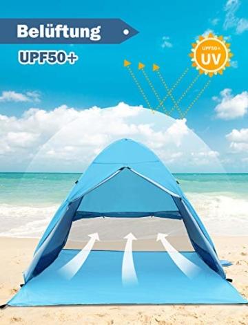 Glymnis Strandmuschel Pop Up Strandzelt mit Reißverschluss und Türvorhang UV-Schutz 50+ Windschutz Strand Zelt für 2-3 Personen Camping Strand Outdoor - 5