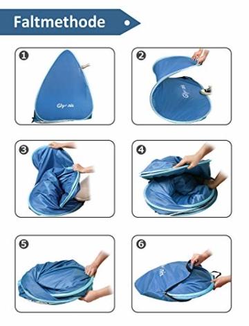 Glymnis Strandmuschel Pop Up Strandzelt mit Reißverschluss und Türvorhang UV-Schutz 50+ Windschutz Strand Zelt für 2-3 Personen Camping Strand Outdoor - 6