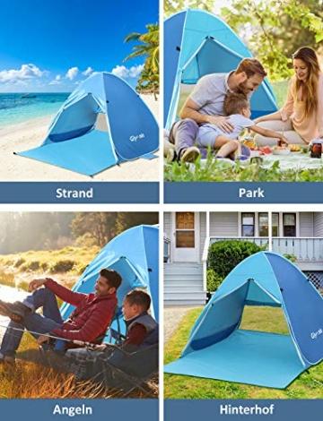 Glymnis Strandmuschel Pop Up Strandzelt mit Reißverschluss und Türvorhang UV-Schutz 50+ Windschutz Strand Zelt für 2-3 Personen Camping Strand Outdoor - 7
