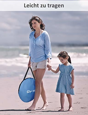 Glymnis Strandmuschel Pop Up Strandzelt mit Reißverschluss und Türvorhang UV-Schutz 50+ Windschutz Strand Zelt für 2-3 Personen Camping Strand Outdoor - 8