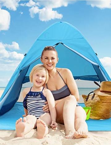 Glymnis Strandmuschel Pop Up Strandzelt mit Reißverschluss und Türvorhang UV-Schutz 50+ Windschutz Strand Zelt für 2-3 Personen Camping Strand Outdoor - 9