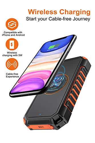 Hiluckey Wireless Solar Powerbank 26800mAh Wasserdichtes Solar Ladegerät USB C Externer Akku mit 4 Outputs, Qi Power Bank für iPhone, Samsung, Huawei, iPad und mehr - 2