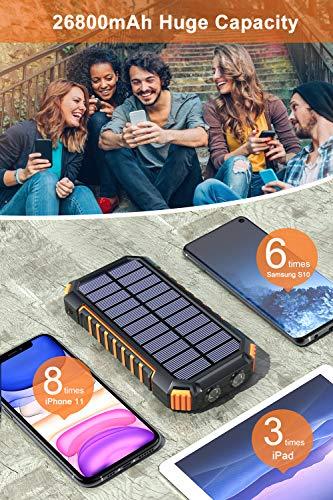 Hiluckey Wireless Solar Powerbank 26800mAh Wasserdichtes Solar Ladegerät USB C Externer Akku mit 4 Outputs, Qi Power Bank für iPhone, Samsung, Huawei, iPad und mehr - 3