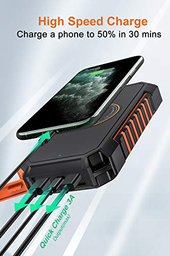 Hiluckey Wireless Solar Powerbank 26800mAh Wasserdichtes Solar Ladegerät USB C Externer Akku mit 4 Outputs, Qi Power Bank für iPhone, Samsung, Huawei, iPad und mehr - 4