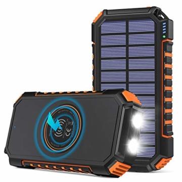 Hiluckey Wireless Solar Powerbank 26800mAh Wasserdichtes Solar Ladegerät USB C Externer Akku mit 4 Outputs, Qi Power Bank für iPhone, Samsung, Huawei, iPad und mehr - 1