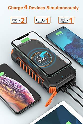 Hiluckey Wireless Solar Powerbank 26800mAh Wasserdichtes Solar Ladegerät USB C Externer Akku mit 4 Outputs, Qi Power Bank für iPhone, Samsung, Huawei, iPad und mehr - 5