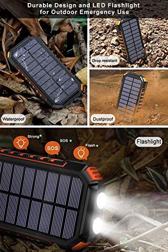 Hiluckey Wireless Solar Powerbank 26800mAh Wasserdichtes Solar Ladegerät USB C Externer Akku mit 4 Outputs, Qi Power Bank für iPhone, Samsung, Huawei, iPad und mehr - 6