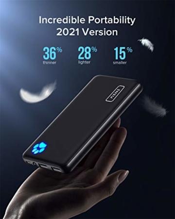 INIU Power Bank, Am schlanksten & leichtesten USB C 10000 mAh Externer Akku, Drei 3A-Ausgänge Handy Powerbank mit Taschenlampe für iPhone 12 Samsung Galaxy S20 Huawei Xiaomi iPad Airpods Android mehr. - 2