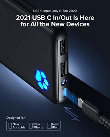 INIU Power Bank, Am schlanksten & leichtesten USB C 10000 mAh Externer Akku, Drei 3A-Ausgänge Handy Powerbank mit Taschenlampe für iPhone 12 Samsung Galaxy S20 Huawei Xiaomi iPad Airpods Android mehr. - 3