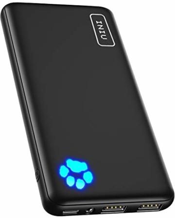 INIU Power Bank, Am schlanksten & leichtesten USB C 10000 mAh Externer Akku, Drei 3A-Ausgänge Handy Powerbank mit Taschenlampe für iPhone 12 Samsung Galaxy S20 Huawei Xiaomi iPad Airpods Android mehr. - 1
