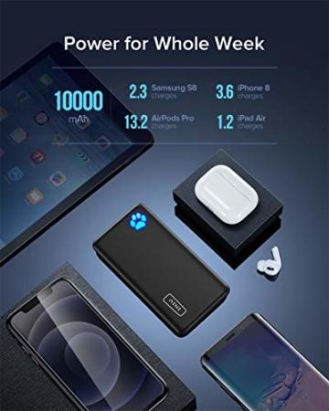 INIU Power Bank, Am schlanksten & leichtesten USB C 10000 mAh Externer Akku, Drei 3A-Ausgänge Handy Powerbank mit Taschenlampe für iPhone 12 Samsung Galaxy S20 Huawei Xiaomi iPad Airpods Android mehr. - 5