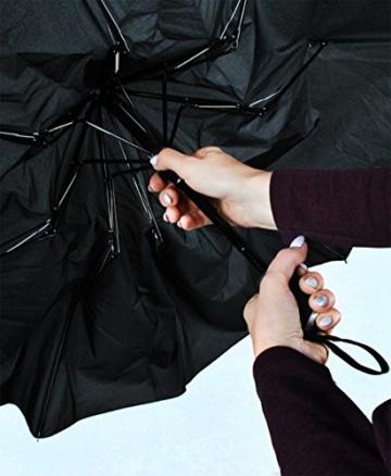 ISO TRADE Taschenschirm Auf-Zu Automatik 110cm Mini Regenschirm Winddicht schwarz #3406 - 5