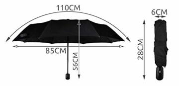 ISO TRADE Taschenschirm Auf-Zu Automatik 110cm Mini Regenschirm Winddicht schwarz #3406 - 6