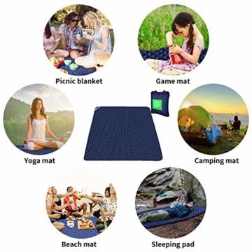 ISOPHO Outdoor-Picknickdecke Extra große wasserdichte Campingdecke mit Umhängetasche Bequeme sanddichte Picknickdecke 200 * 170cm Packbare Picknickdecke für Camping Wandern Gras Reisen - 2