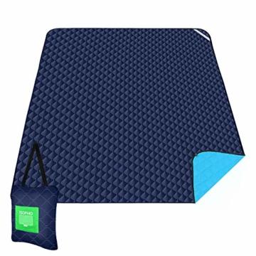ISOPHO Outdoor-Picknickdecke Extra große wasserdichte Campingdecke mit Umhängetasche Bequeme sanddichte Picknickdecke 200 * 170cm Packbare Picknickdecke für Camping Wandern Gras Reisen - 1