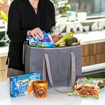 JSENGE Wiederverwendbar Einkaufstasche, Picknick KÜHltasche Faltbar, Große Einkaufstaschen, Waschbarer, Isolierte EinkaufstÜTen FÜR Warme Oder Kalte Speisen, Lebensmittellieferbeutel (grau) - 5