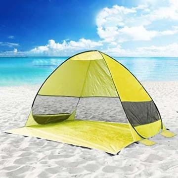 Juliyues Strandzelt pop up Strandmuschel Strandzelt Baby UV Schutz Extra Light Automatische mit Reißverschluss Tragbar Beach Zelt Wurfzelt für Familien Baby Urlaub - 2