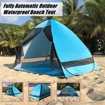 Juliyues Strandzelt pop up Strandmuschel Strandzelt Baby UV Schutz Extra Light Automatische mit Reißverschluss Tragbar Beach Zelt Wurfzelt für Familien Baby Urlaub - 3
