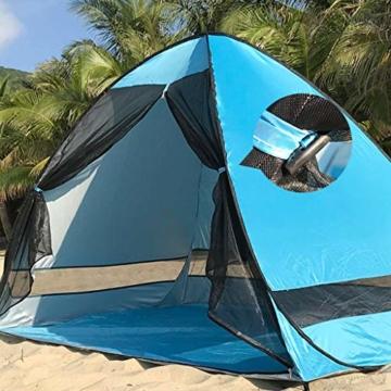 Juliyues Strandzelt pop up Strandmuschel Strandzelt Baby UV Schutz Extra Light Automatische mit Reißverschluss Tragbar Beach Zelt Wurfzelt für Familien Baby Urlaub - 5