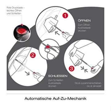 Knirps Taschenschirm T.200 Duomatic Dots – Auf-Zu-Automatik – Sturmfest – Windproof – Punkte-Design – Dunkelblau - 4