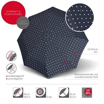 Knirps Taschenschirm T.200 Duomatic Dots – Auf-Zu-Automatik – Sturmfest – Windproof – Punkte-Design – Dunkelblau - 5