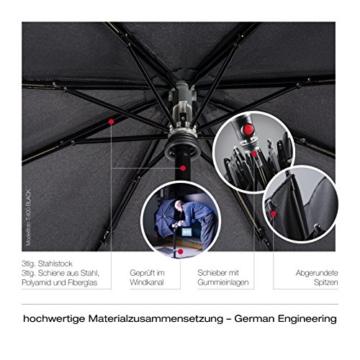 Knirps Taschenschirm T.400 Duomatic Uni – Auf-Zu-Automatik – Sturmfest – Windproof – Schwarz - 5