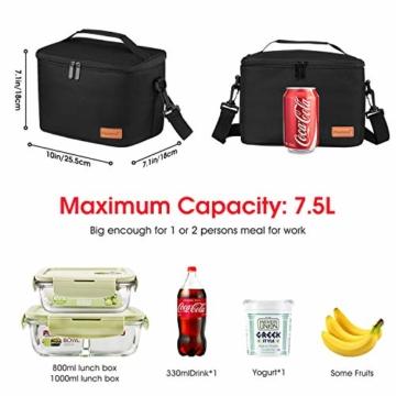 Kühltasche Klein Faltbar Thermotasche für Die Arbeit Männer Frauen Lunch Taschen Picknicktasche Isoliertasche Camping Reise Barbecue Milch Frühstücken Getränke Verstellbarer Schultergurt - 6