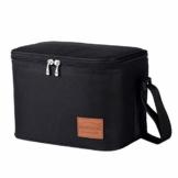 Kühltasche Klein Leicht Lunch Tasche Isoliertasche zur Arbeit Schule Faltbar Wasserdicht Reißverschluss Schwarz 7,5L - 1