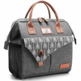 Lekesky Lunchtasche Isolierte Kühltasche für Frauen Auslaufsichere weit geöffnete Lunchbox, Grau - 1
