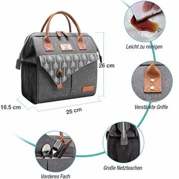 Lekesky Lunchtasche Isolierte Kühltasche für Frauen Auslaufsichere weit geöffnete Lunchbox, Grau - 3