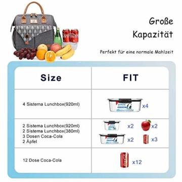 Lekesky Lunchtasche Isolierte Kühltasche für Frauen Auslaufsichere weit geöffnete Lunchbox, Grau - 4