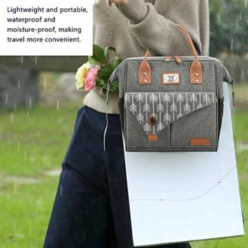 Lekesky Lunchtasche Isolierte Kühltasche für Frauen Auslaufsichere weit geöffnete Lunchbox, Grau - 5