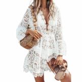L&ieserram Damen Spitze Strandkleid V-Ausschnitt Badeanzug Bedecken Pareos Kimono Cardigan Strandkleid Boho Transparent Strandponcho (Weiß, M) - 1