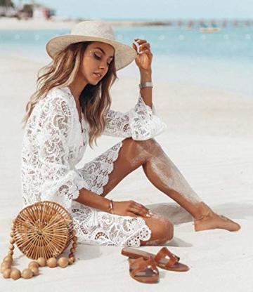 L&ieserram Damen Spitze Strandkleid V-Ausschnitt Badeanzug Bedecken Pareos Kimono Cardigan Strandkleid Boho Transparent Strandponcho (Weiß, M) - 3