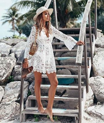L&ieserram Damen Spitze Strandkleid V-Ausschnitt Badeanzug Bedecken Pareos Kimono Cardigan Strandkleid Boho Transparent Strandponcho (Weiß, M) - 4