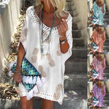 Minetom Damen Kurzarm V-Ausschnitt Retro Bikini Cover Up Strandkleid Bikinikleid Beachwear Lose Spitze Drucken Mini Kleid A Weiß 38 - 2