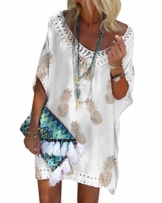 Minetom Damen Kurzarm V-Ausschnitt Retro Bikini Cover Up Strandkleid Bikinikleid Beachwear Lose Spitze Drucken Mini Kleid A Weiß 38 - 1