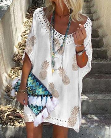 Minetom Damen Kurzarm V-Ausschnitt Retro Bikini Cover Up Strandkleid Bikinikleid Beachwear Lose Spitze Drucken Mini Kleid A Weiß 38 - 3