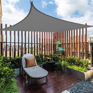 MVPower Sonnensegel 4 * 5 rechteckig, Sonnenschutz für den Außenbereich, Polyester-Oxford, UV-Schutz, geeignet für Garten, Innenhof, wasserdicht Markise mit Tragetasche, Grau - 3