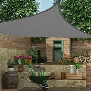 MVPower Sonnensegel 4 * 5 rechteckig, Sonnenschutz für den Außenbereich, Polyester-Oxford, UV-Schutz, geeignet für Garten, Innenhof, wasserdicht Markise mit Tragetasche, Grau - 6
