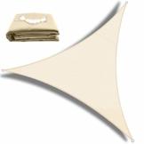 OKAWADACH Sonnensegel, Polyester Sonnensegel Sonnenschutz Garten Balkon und Terrasse wetterbeständig mit UV Schutz Windschutz für Garten Terrasse Camping (Dreieck 2 x 2 x 2m Cremeweiß) - 1